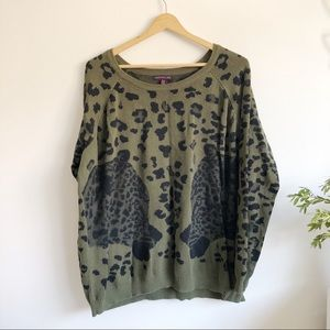 Material Girl Olive Green Leopard Print Sweater XL